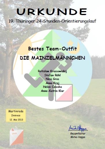 Urkunde für das beste Team-Outfit beim 19. 24h-OL